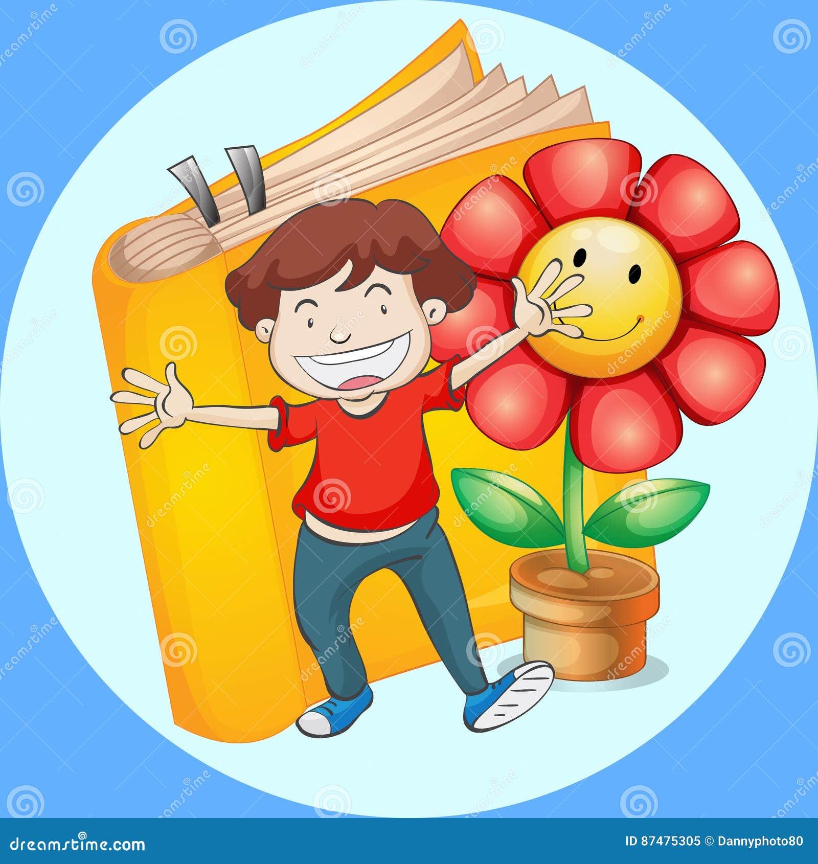 Счастливый мальчик с предпосылкой книги и цветка