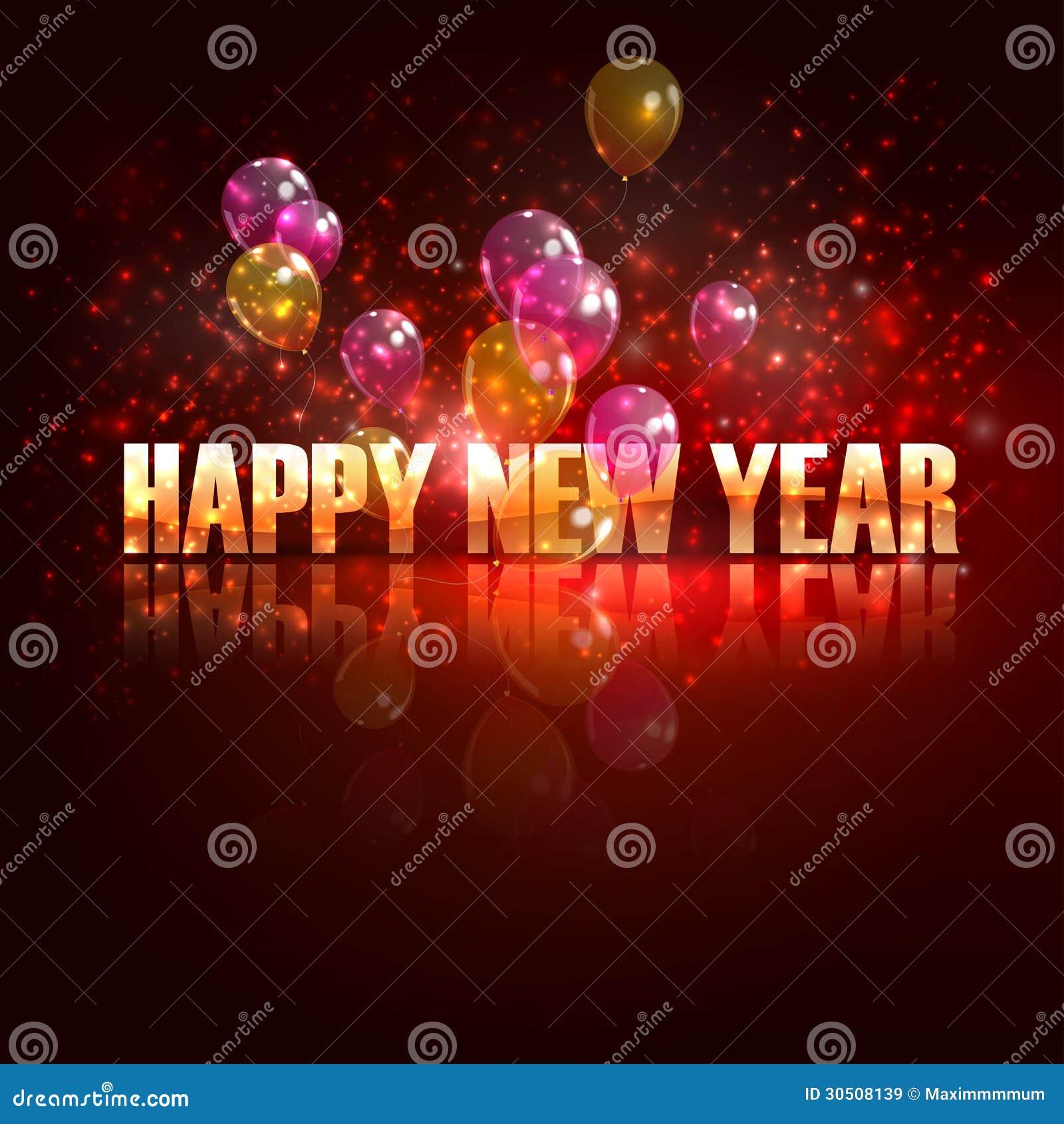 Счастливый Новый Год. предпосылка праздника с воздушными шарами