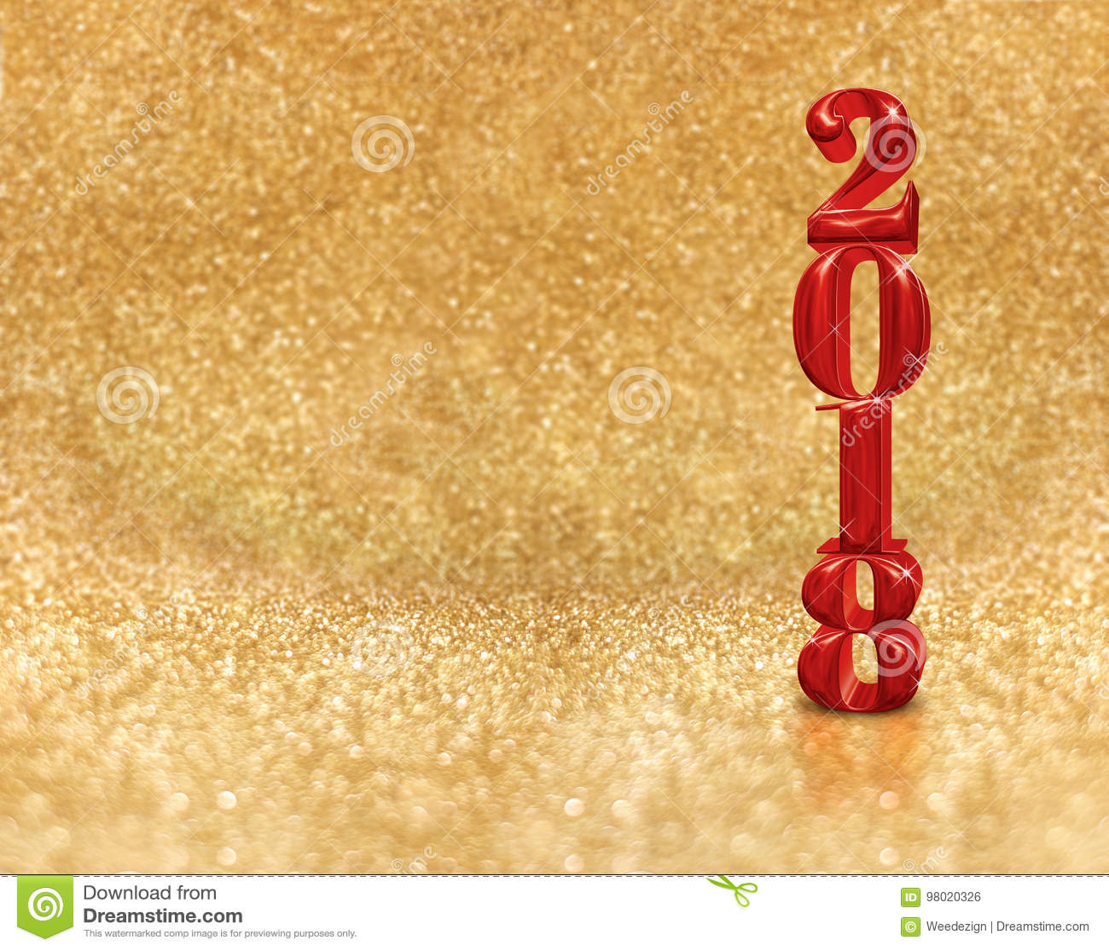 Счастливый Новый Год 2018 3d представляя красный цвет на золотой сверкнать