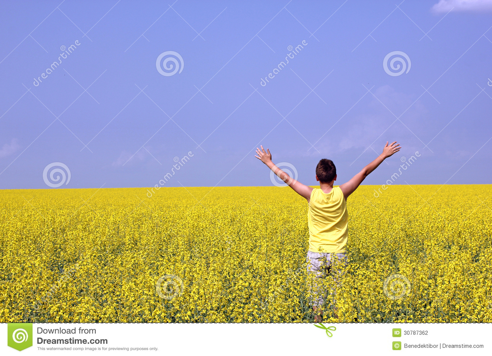 Счастливый подросток стоя в поле рапса семени масличной культуры