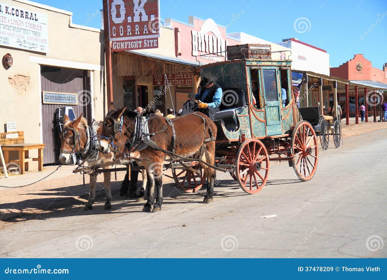 США, Аризона/надгробная плита: Старый запад - дилижанс