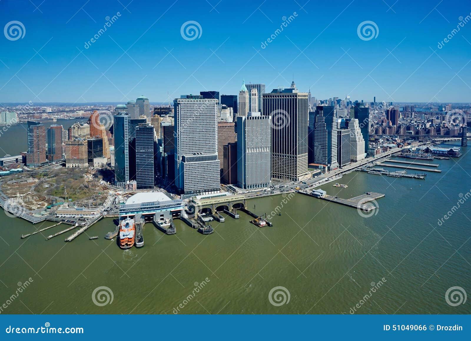 США, Нью-Йорк, 29 03 2007: Взгляды Манхаттана от helicopte