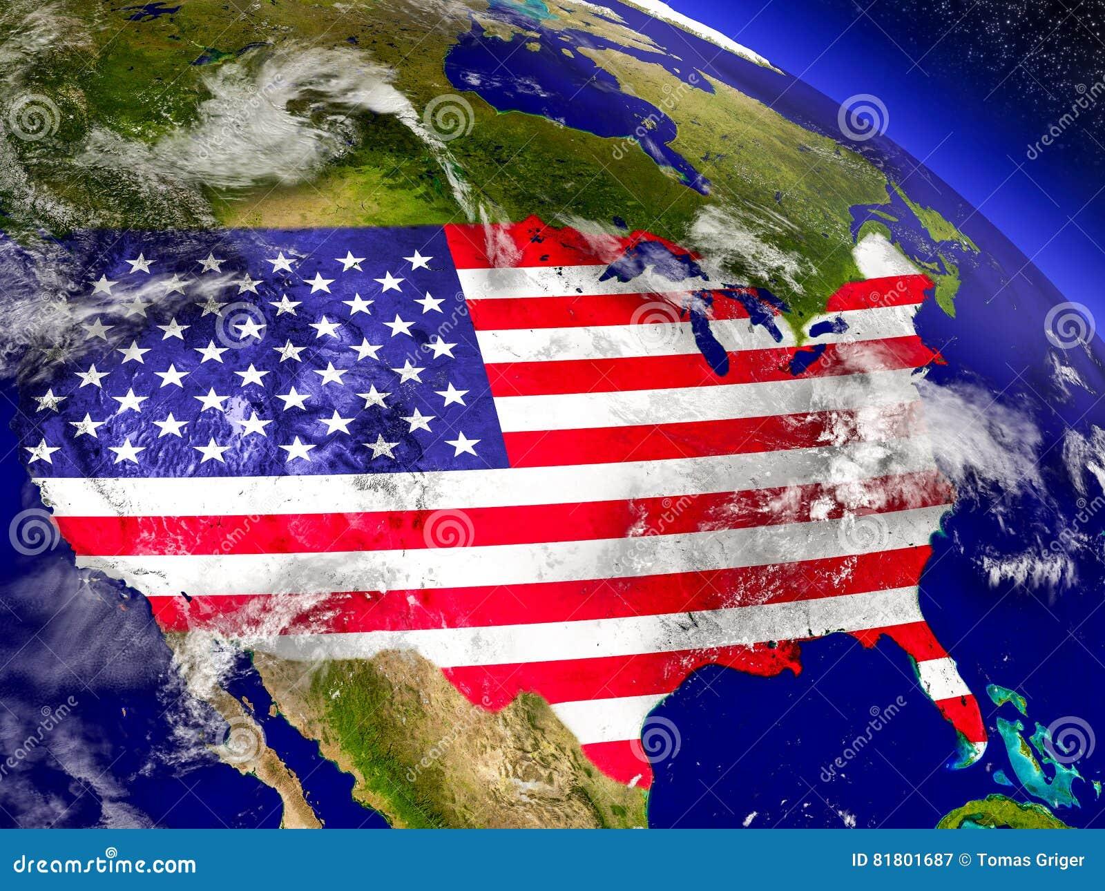 США с врезанным флагом на земле
