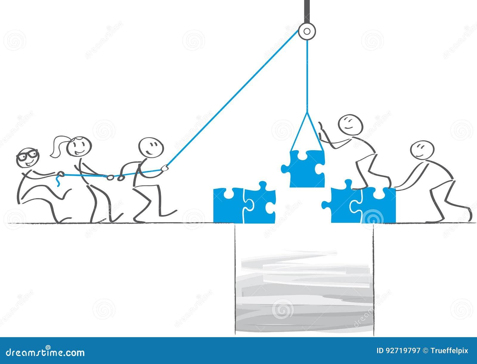 Сыгранность - бизнесмены сотрудничают и строить