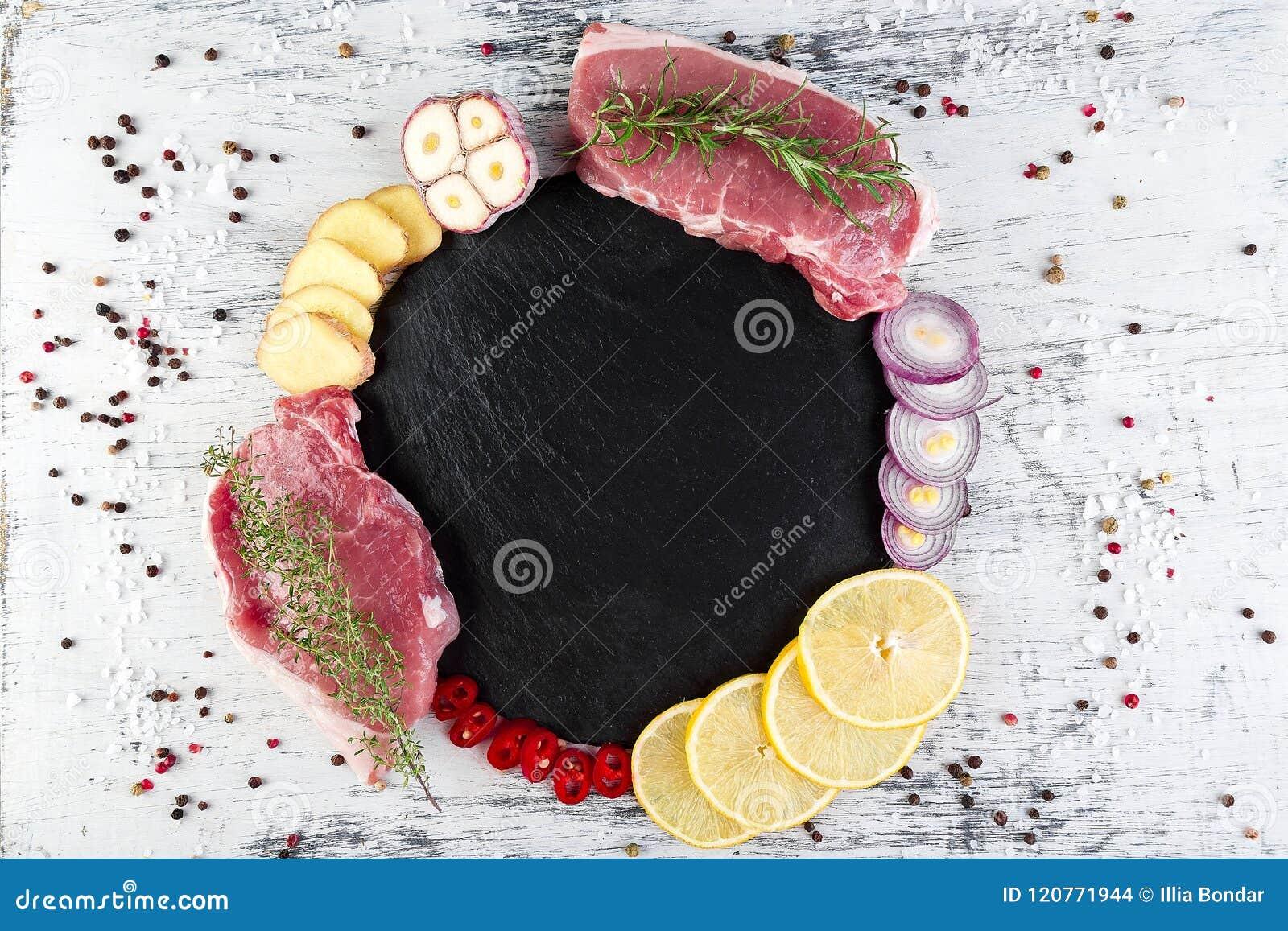 Сырцовое мясо свинины с ингридиентом специи