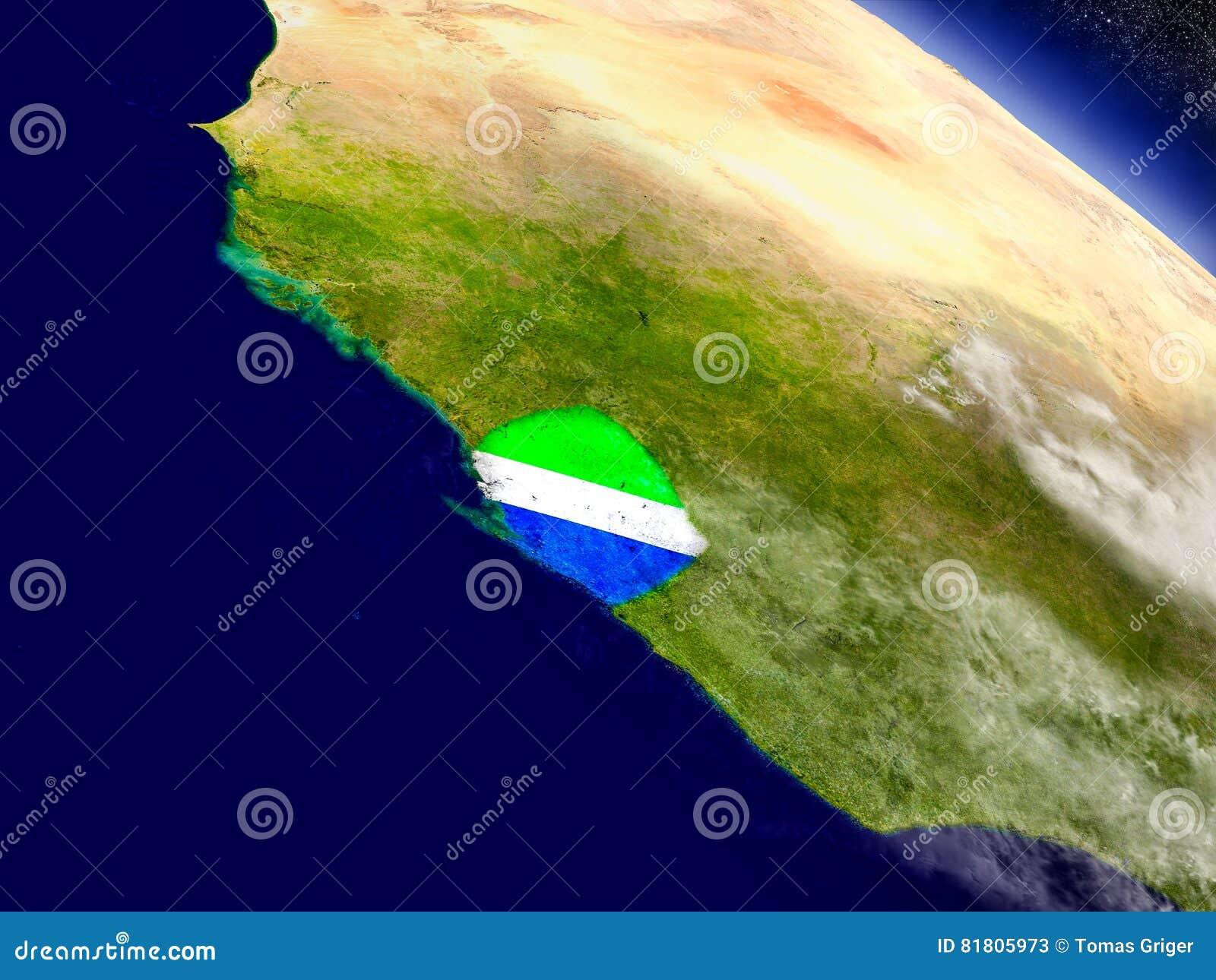 Сьерра-Леоне с врезанным флагом на земле