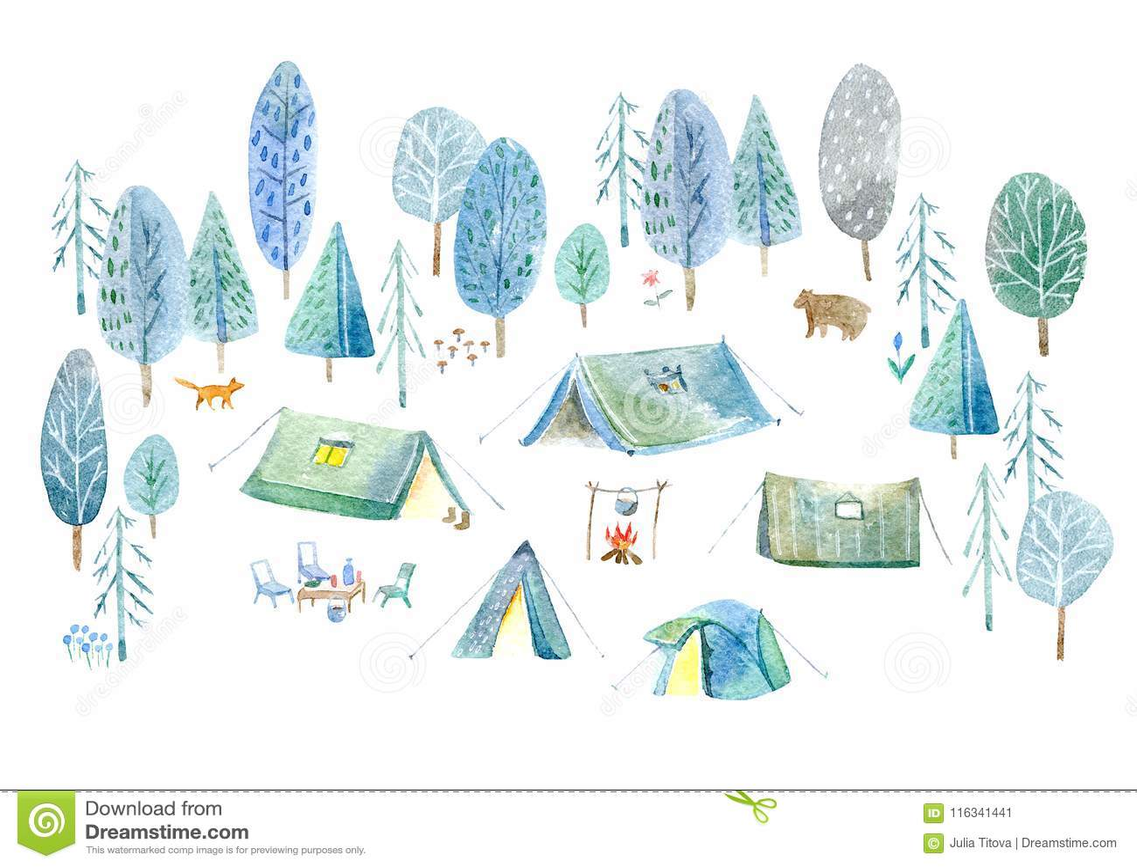 сь древесины Шатер, деревья, костер, заводы, лиса, медведь и флористическое