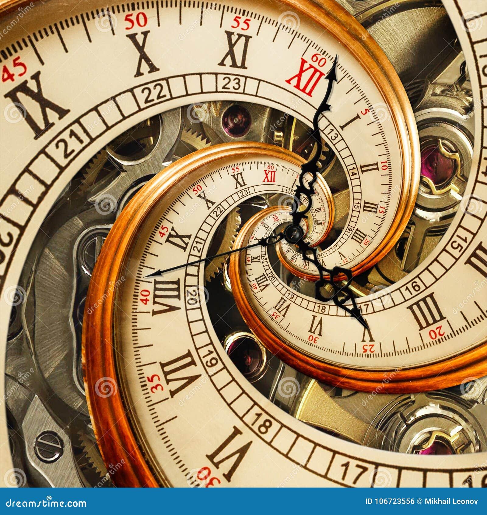 Сюрреалистическая античная старая спираль фрактали конспекта часов Наблюдайте, как часы с фракталью текстуры механизма необыкнове