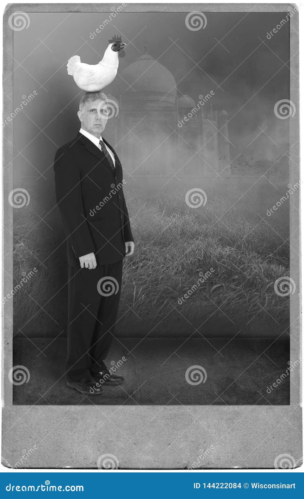 Сюрреалистический винтажный человек, портрет цыпленока