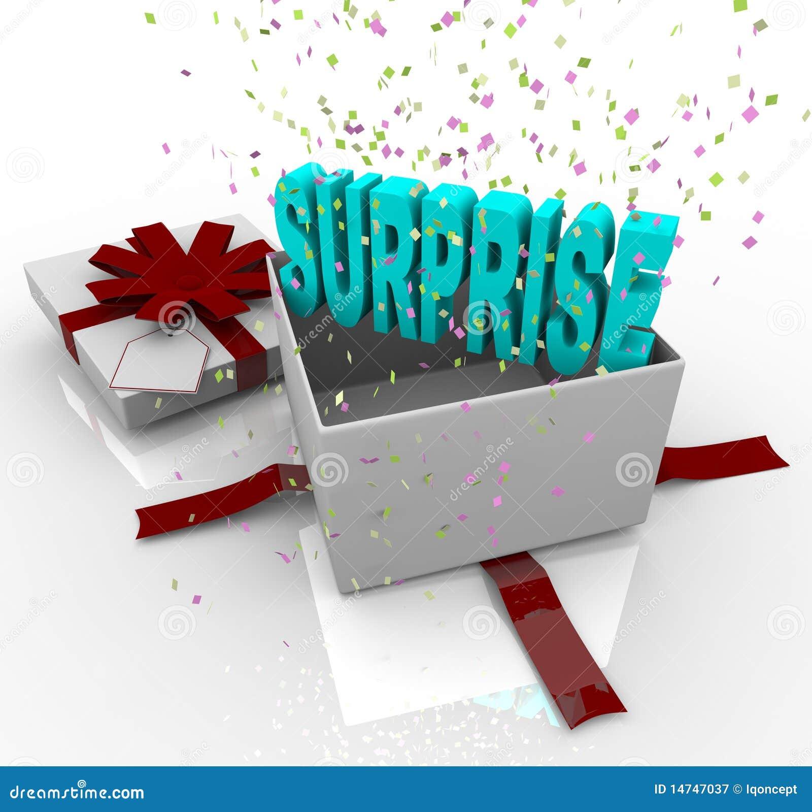 сярприз подарка коробки дня рождения счастливый присутствующий