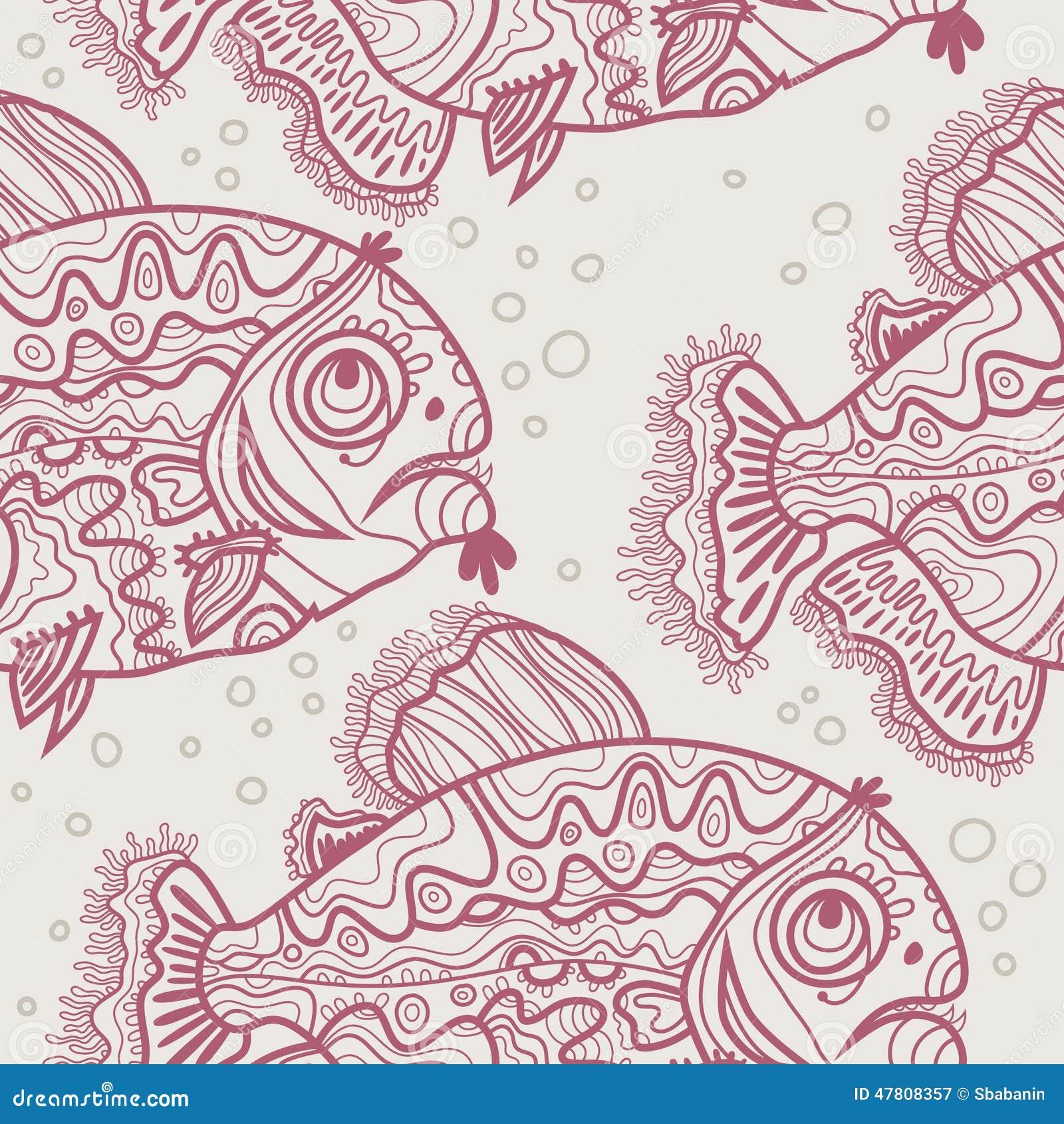 Сделайте по образцу рыб и пузырей красного цвета линейно нарисованных