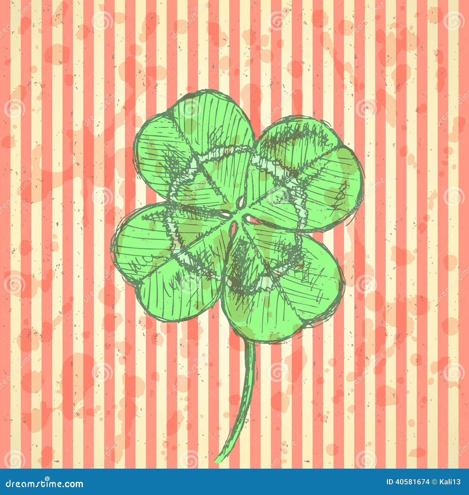 Сделайте эскиз к клеверу, предпосылке вектора, дню St. Patrick