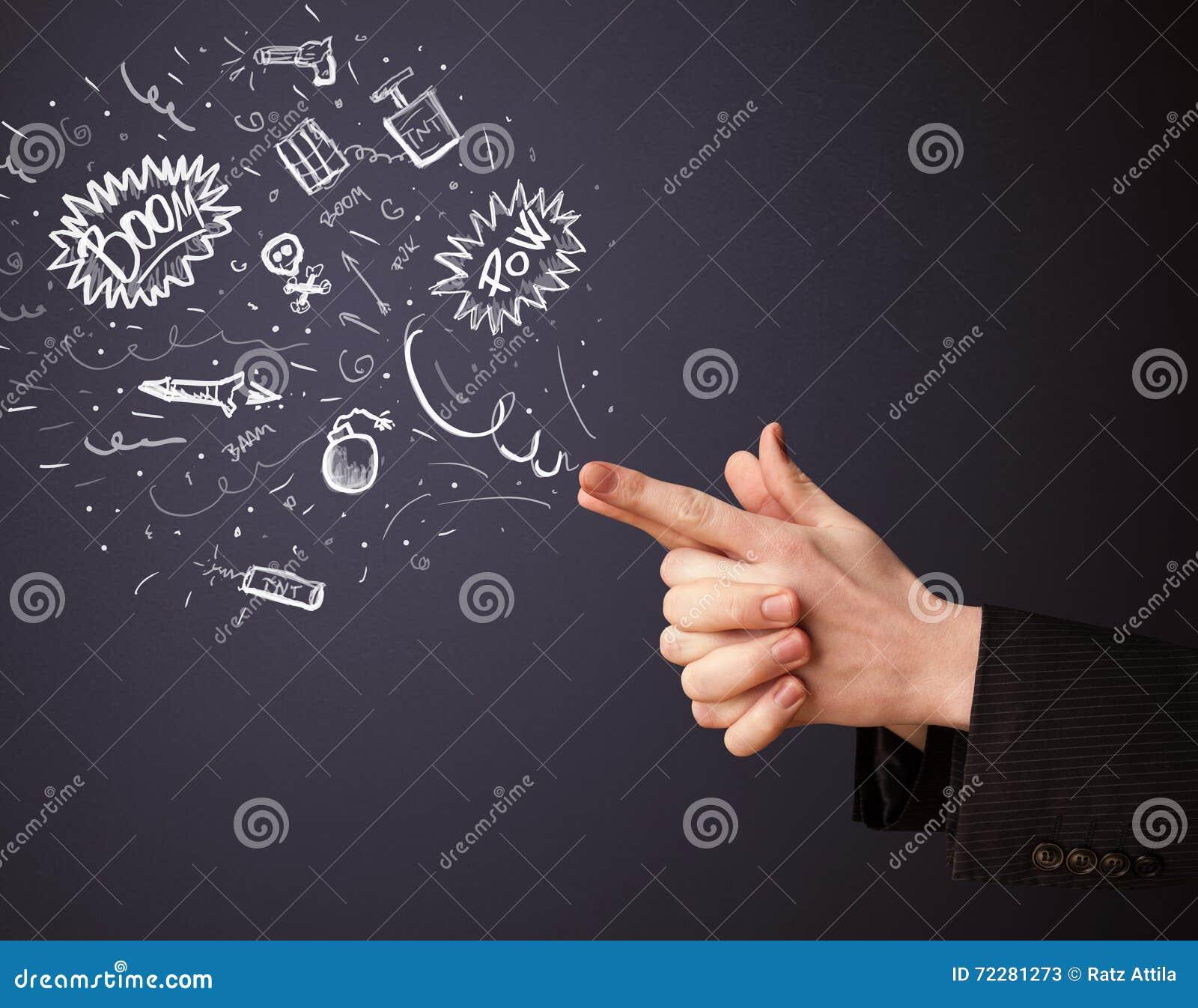 Download Сделанные эскиз к взрывчатки приходя из рук оружия форменных Стоковое Изображение - изображение насчитывающей детонация, чертеж: 72281273