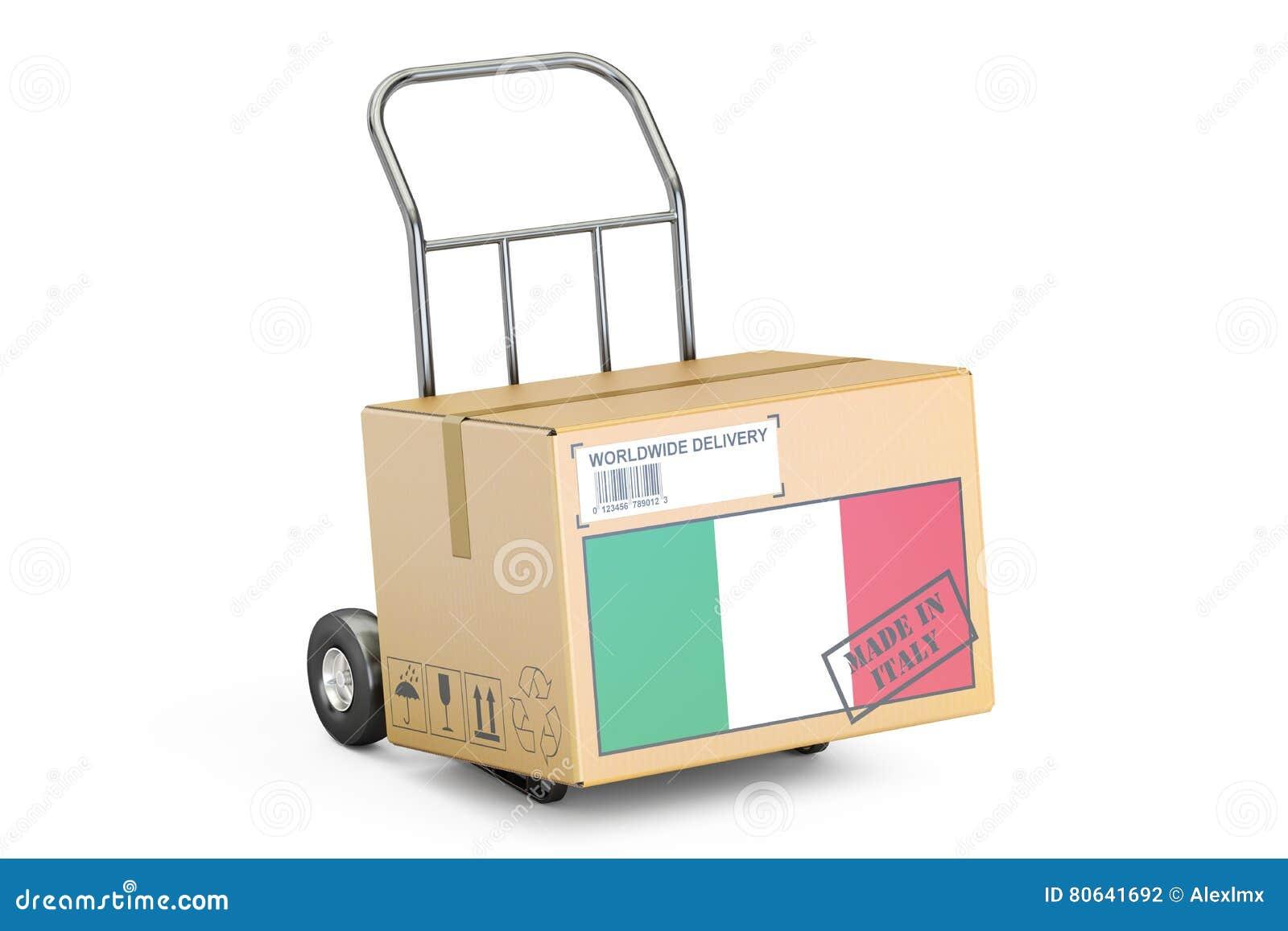 Сделано в магазине дела Италии concept Тележка картонной коробки в наличии, перевод 3D