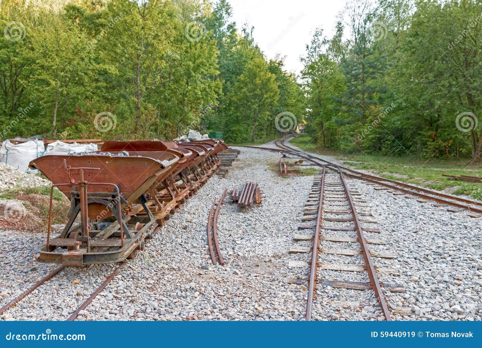 Следы и тележки шахты известняка