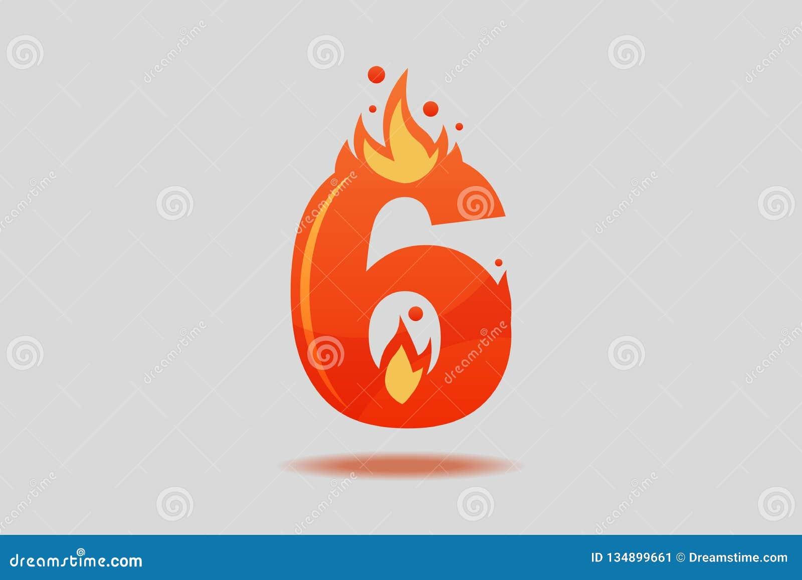 6 с красными пламенами и искрами