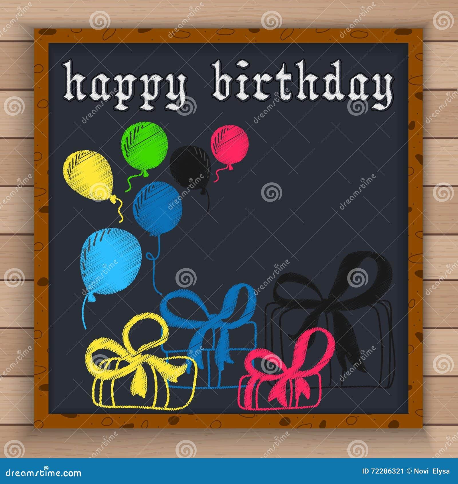 Download С днем рождения предпосылка с воздушными шарами цвета и подарочные коробки написанные цветом белят мелом на классн классном Иллюстрация вектора - иллюстрации насчитывающей рамка, годовщина: 72286321