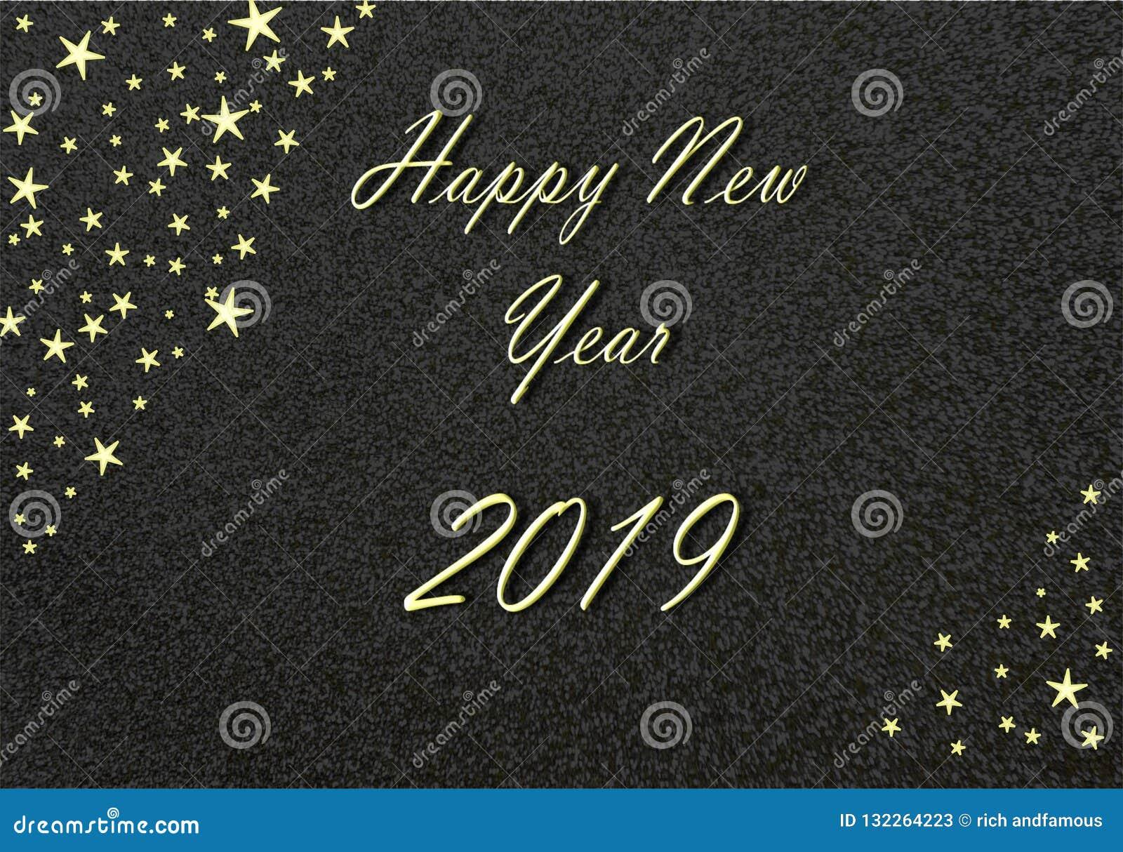 С Новым Годом! золото 2019 с черными предпосылкой и звездами