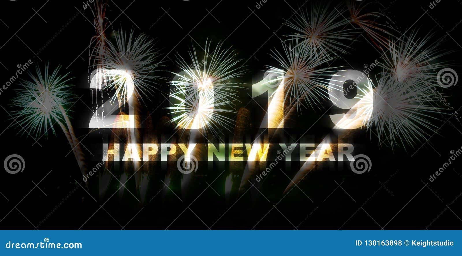 С Новым Годом! 2019 красочными предпосылка украшенная фейерверками