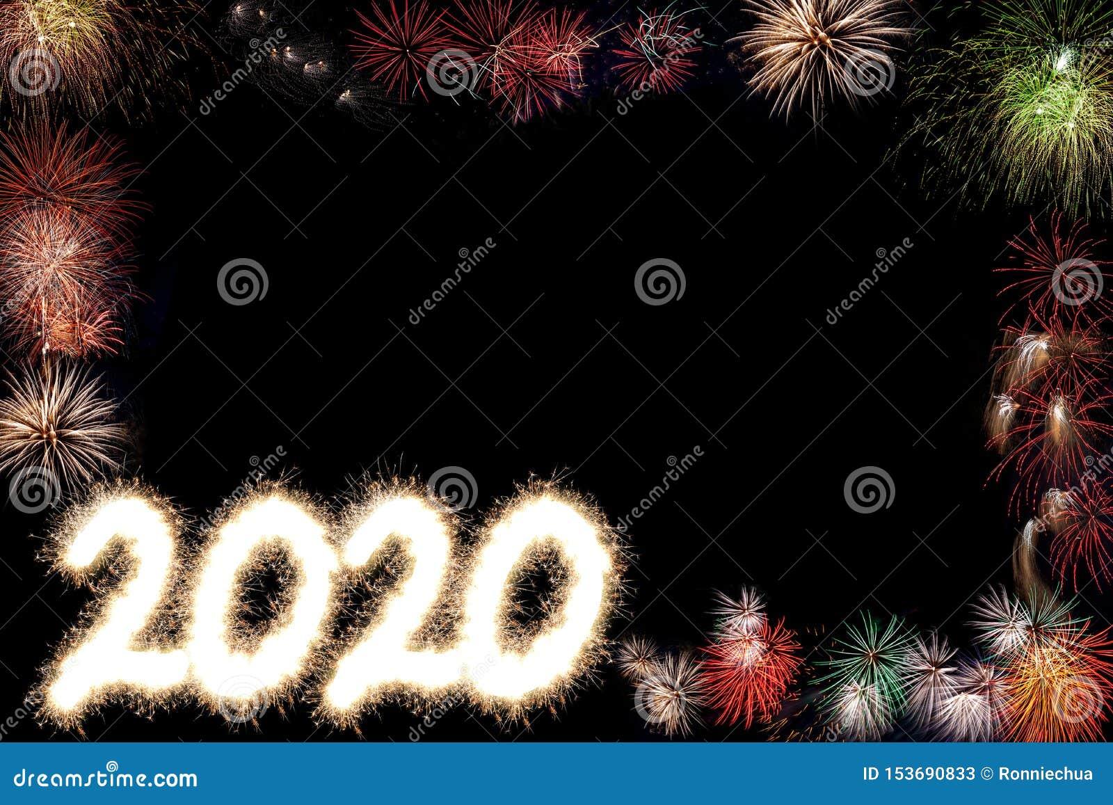 2020 С Новым Годом! предпосылок фейерверков партии с космосом экземпляра