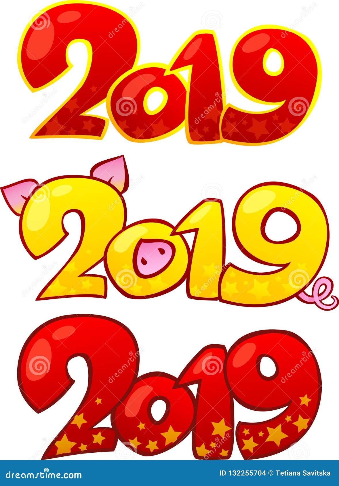 2019 С Новым Годом! элементов дизайна Счастливый китайский Новый Год 2019