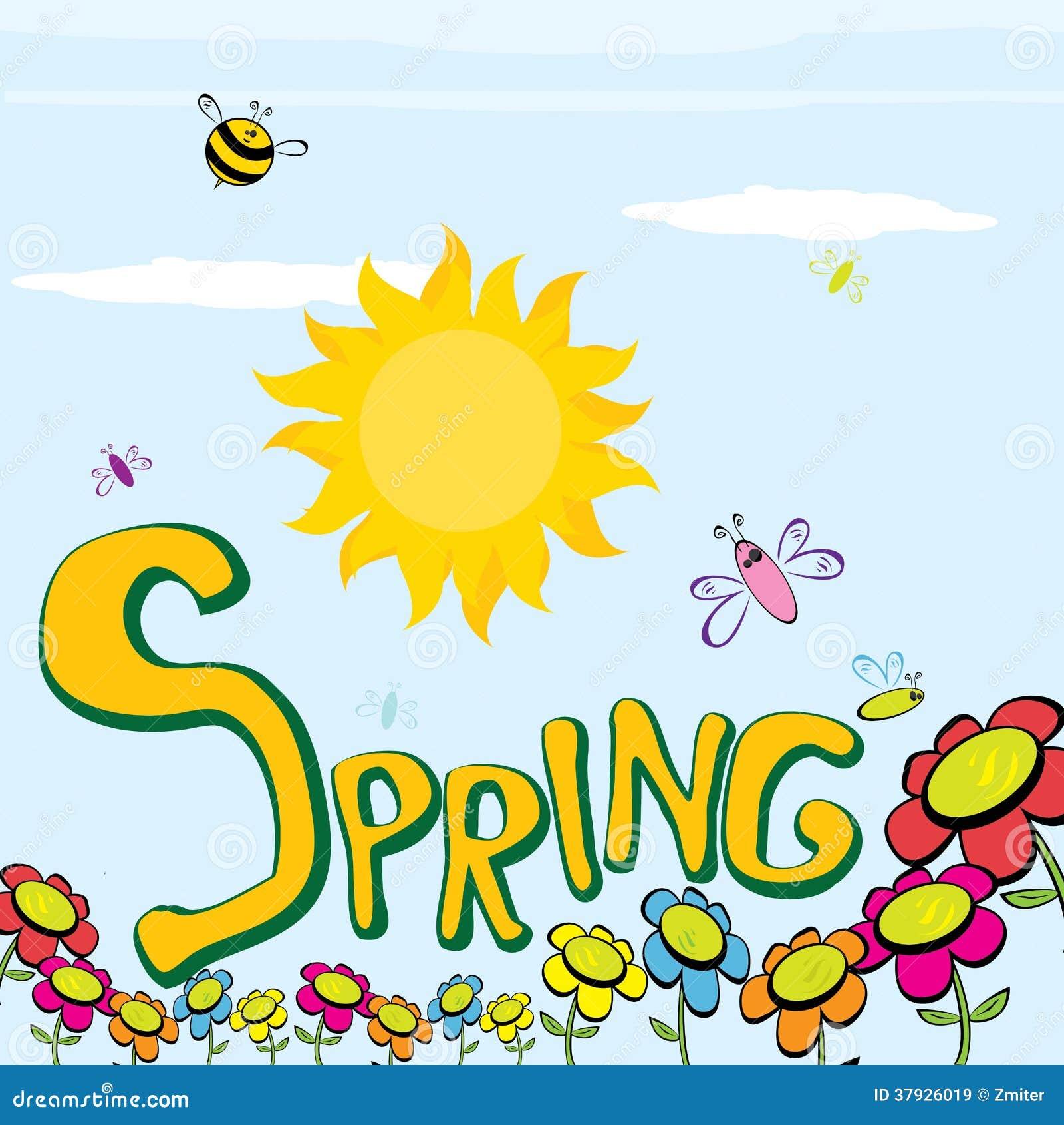 Слово весны, цветки и вектор бабочки.