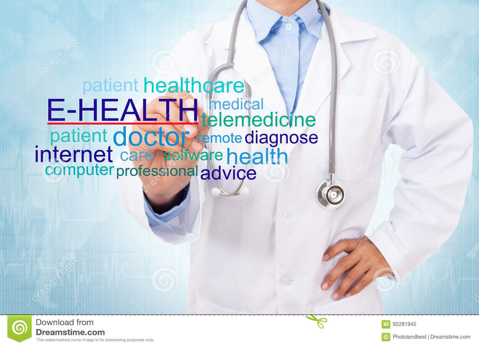 Слово E-здоровья сочинительства доктора