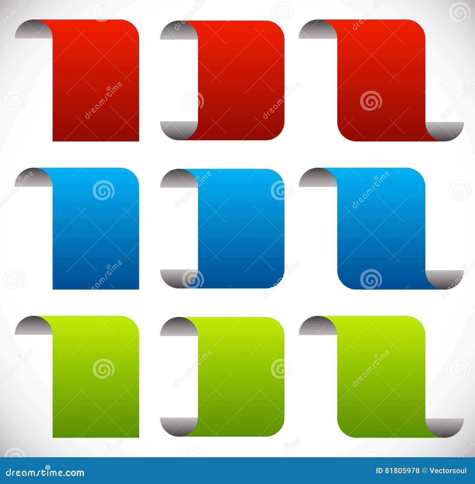 Сложенные пустые знамена Вертикальное знамя шелушения, elem дизайна листа