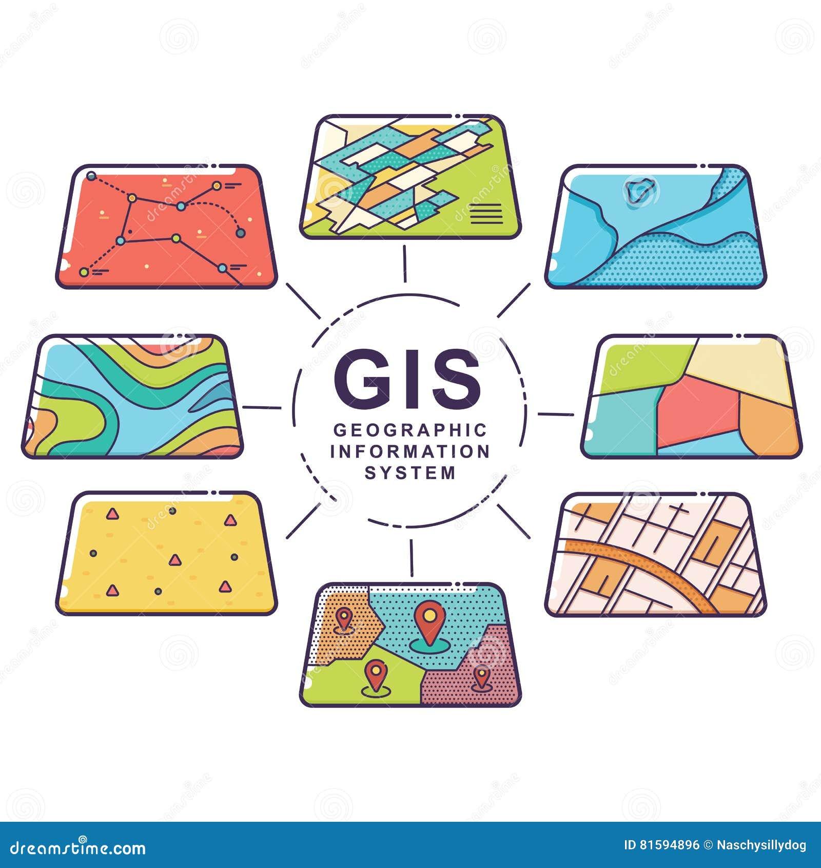Слои данным по концепции GIS для Infographic