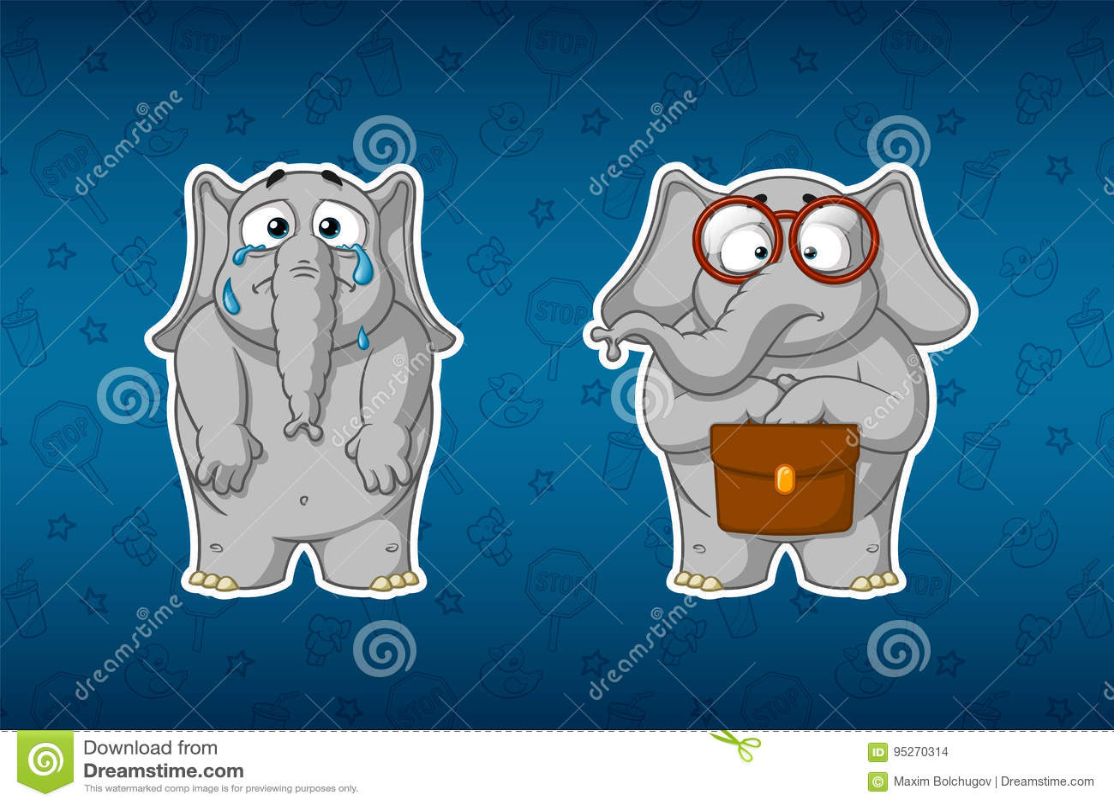 Слоны стикеров Плачущ, падая разрывы, понижая его руки Ботаник стоит с портфелем и стеклами шарж