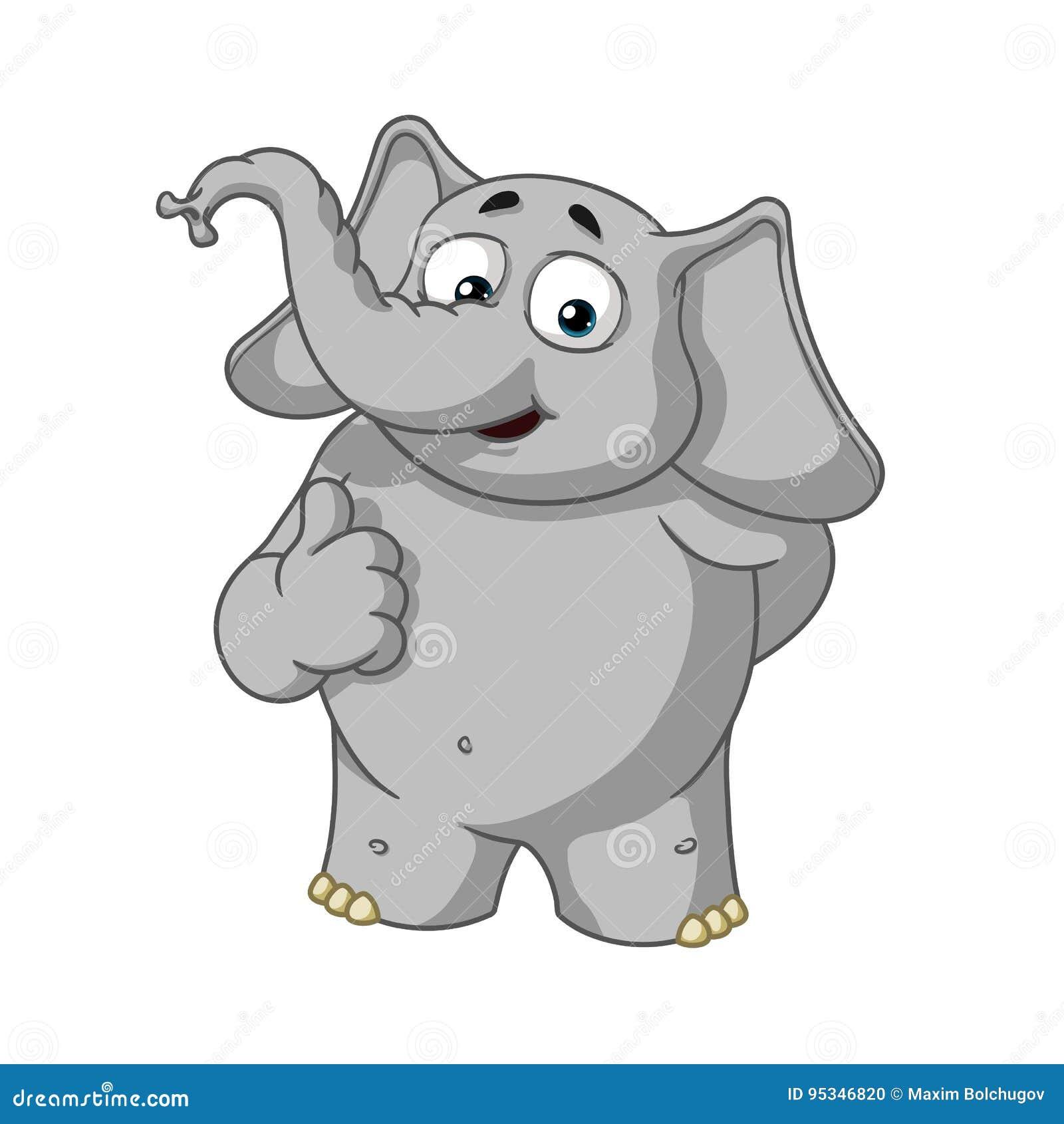 Слон Характер Он поднял палец, как Большое собрание слонов Вектор, шарж