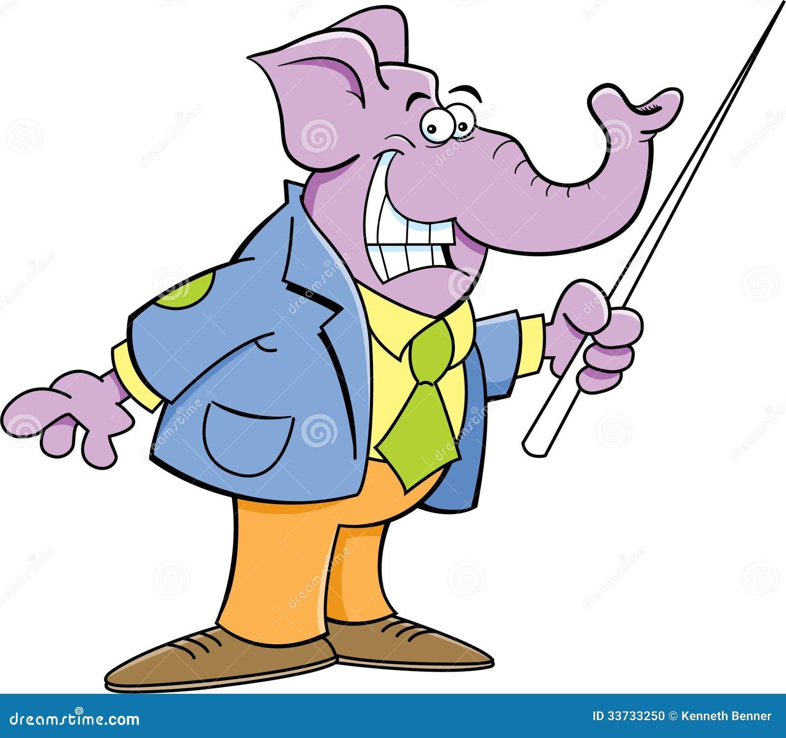Слон шаржа держа указатель