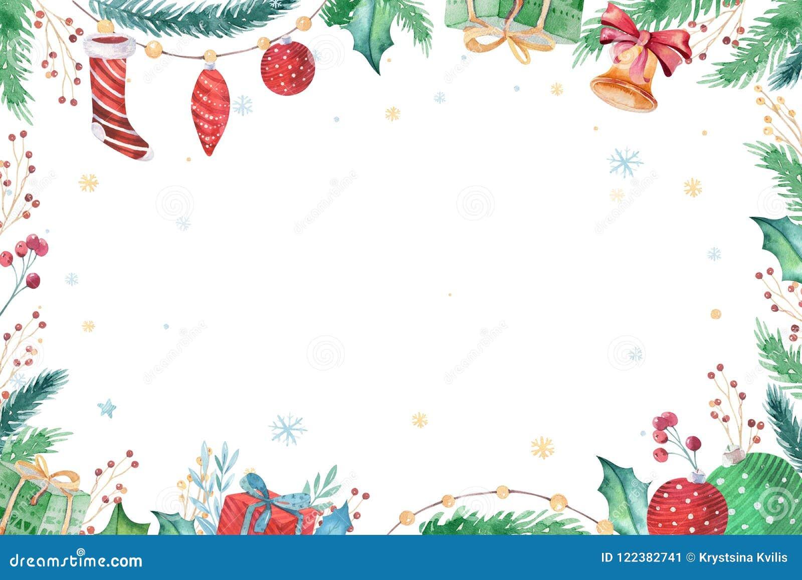 С Рождеством Христовым и счастливый комплект 2019 зимы украшения Нового Года Предпосылка праздника акварели Карточка элемента Xma
