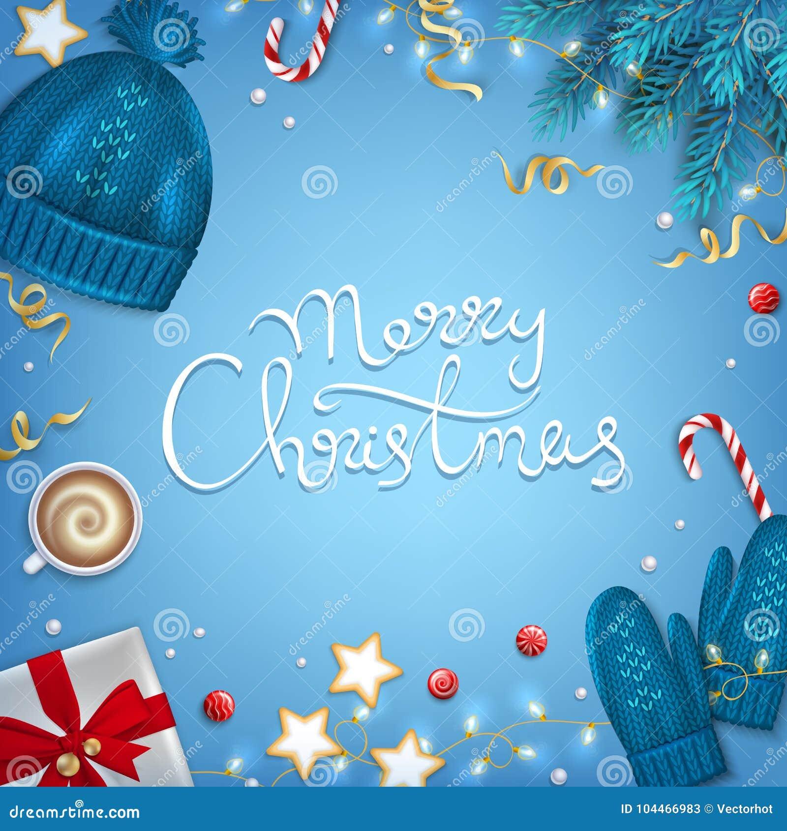 С Рождеством Христовым нарисованная рука помечающ буквами предпосылку приветствию Ель элементов зимы разветвляет, связанная голуб