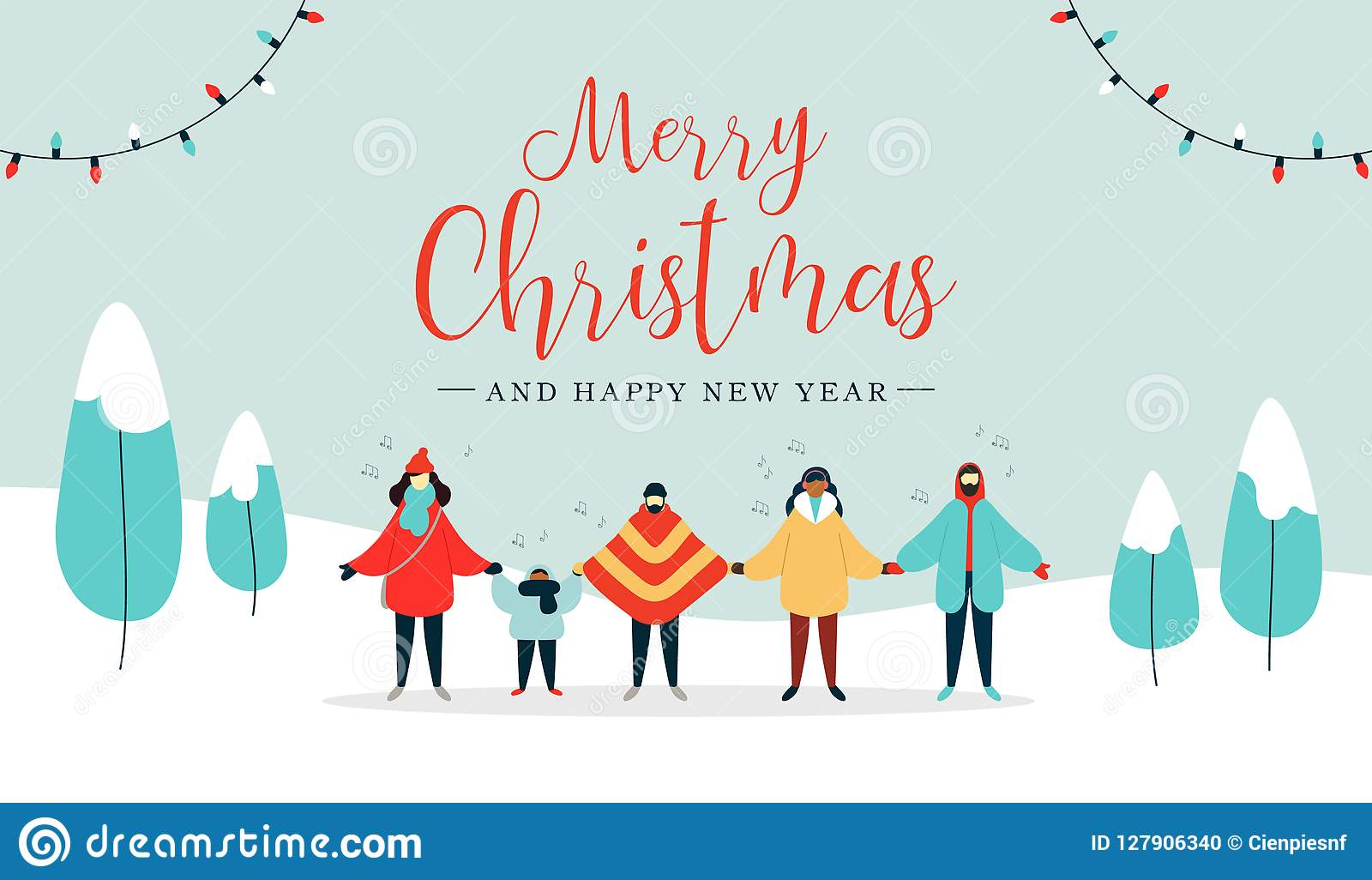 С Рождеством Христовым рождественская открытка разнообразных людей поя