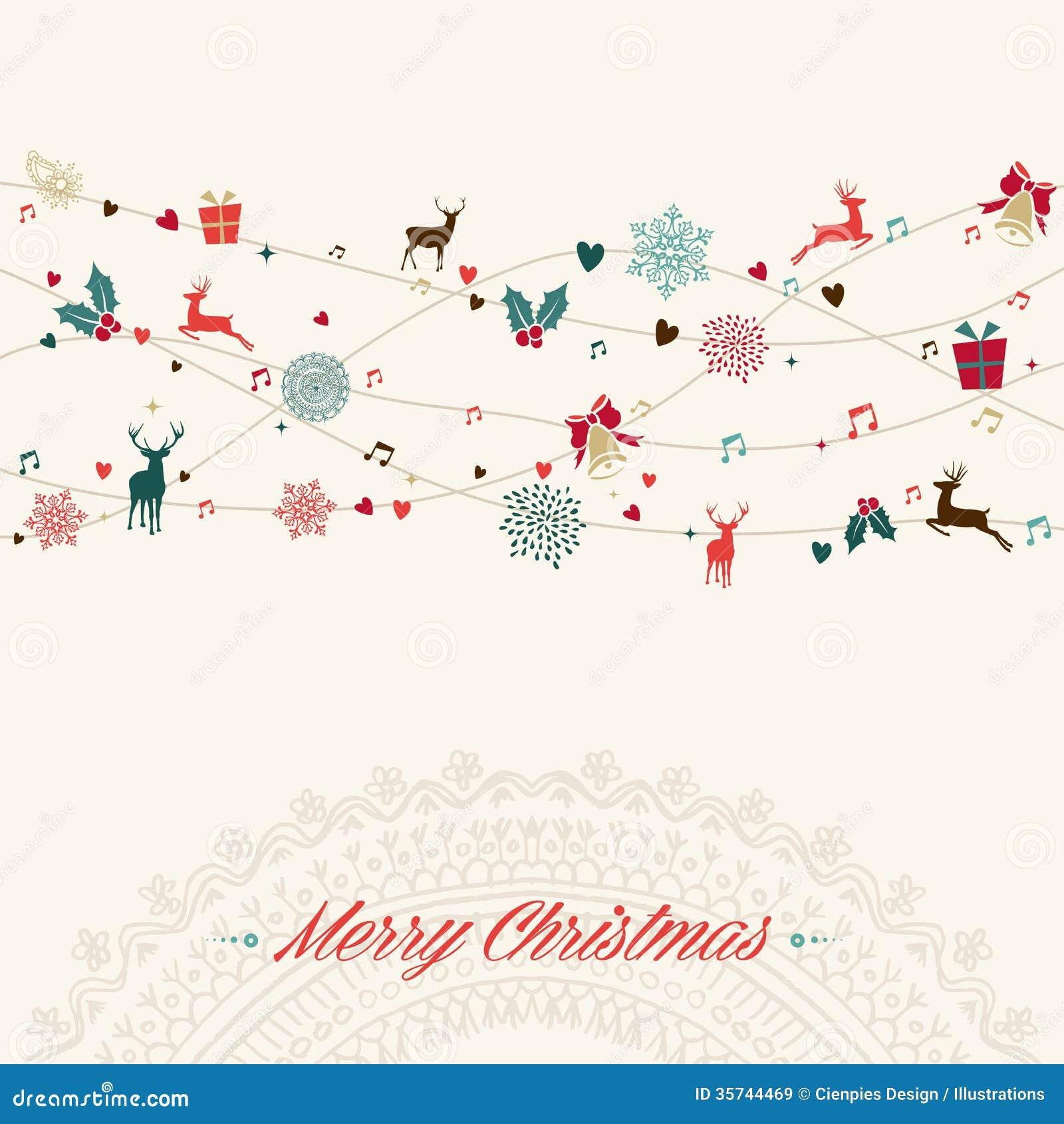 С Рождеством Христовым винтажная карточка гирлянды