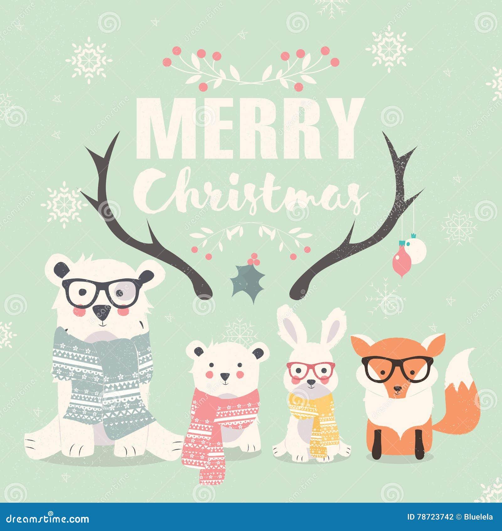 С Рождеством Христовым литерность с полярными медведями, лисой и кроликом битника