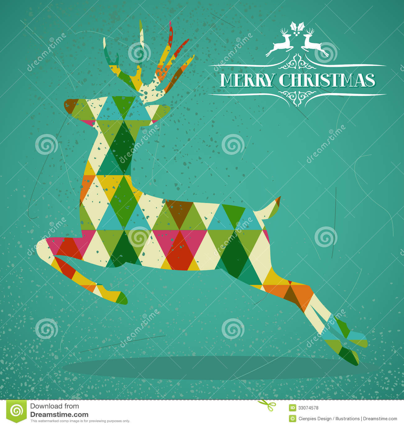С Рождеством Христовым красочная форма северного оленя.