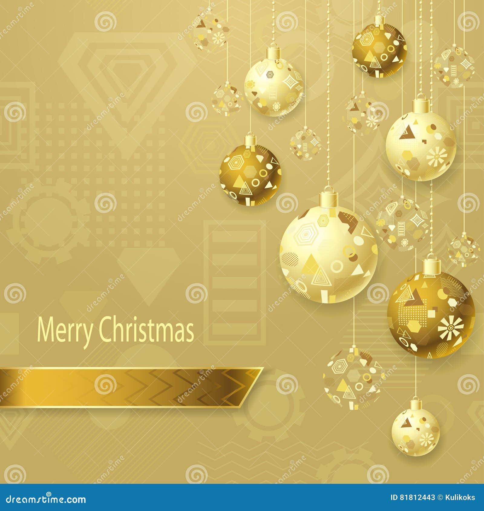 С Рождеством Христовым предпосылка с шариками рождества в золоте на свете