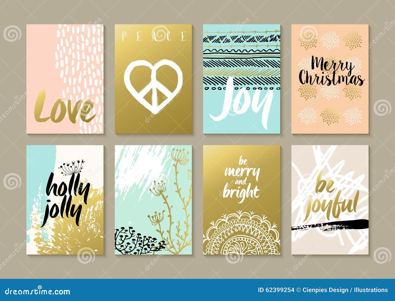 С Рождеством Христовым ретро комплект карточки hippie boho битника