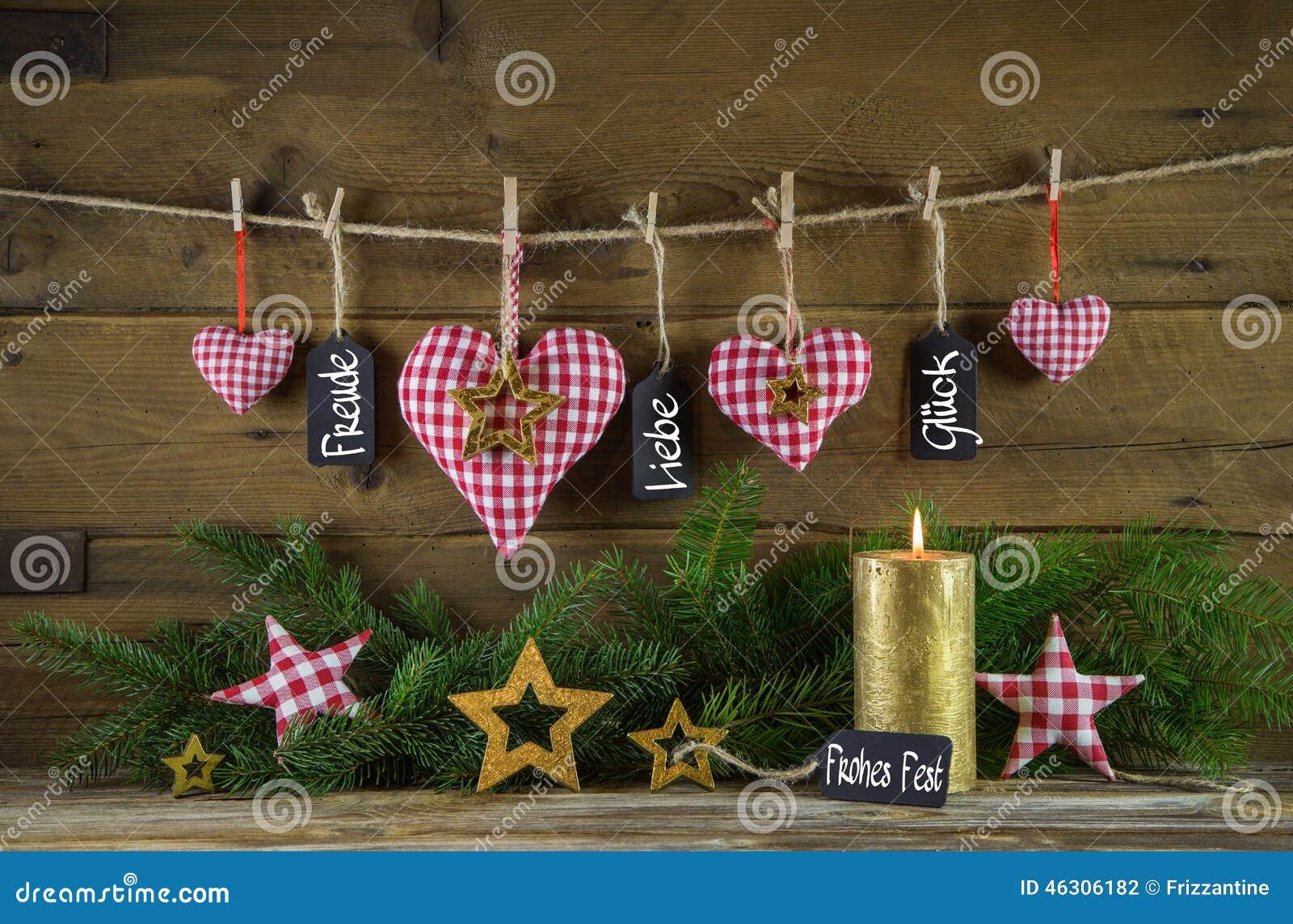 С Рождеством Христовым рождественская открытка с немецким текстом: счастье, влюбленность и везение