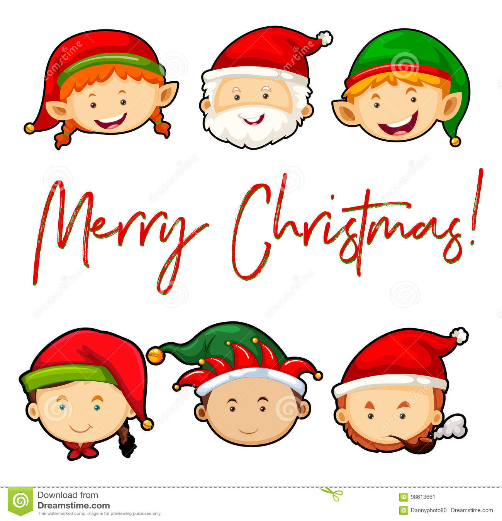 С Рождеством Христовым рождественская открытка с Сантой и эльфами