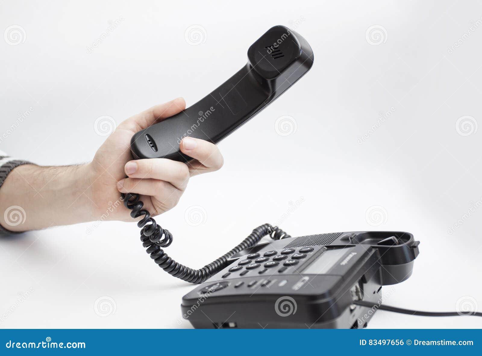 С рукой телефонной трубки