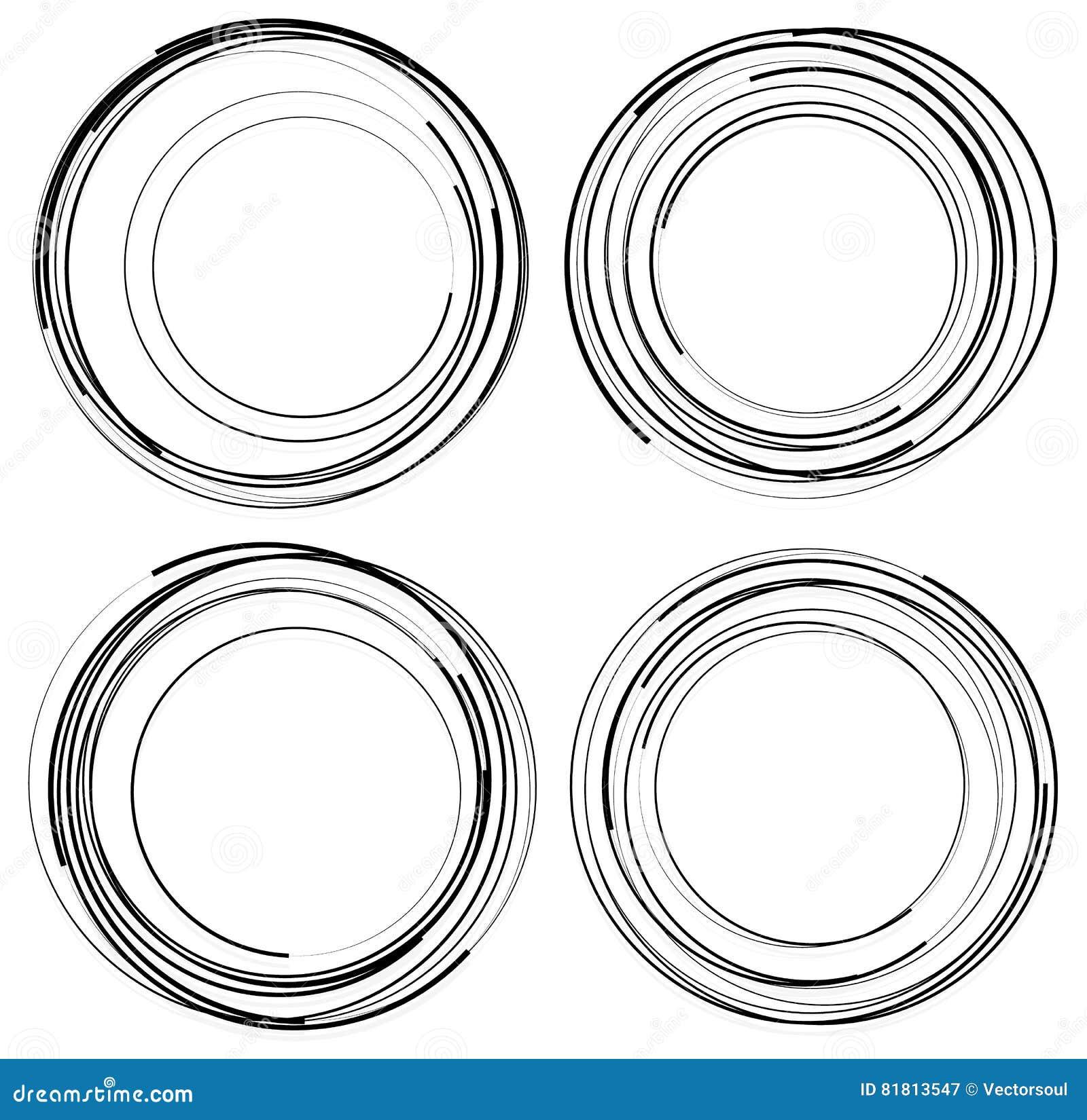 Случайные концентрические круги Комплект 4 элементов абстрактное monochrom