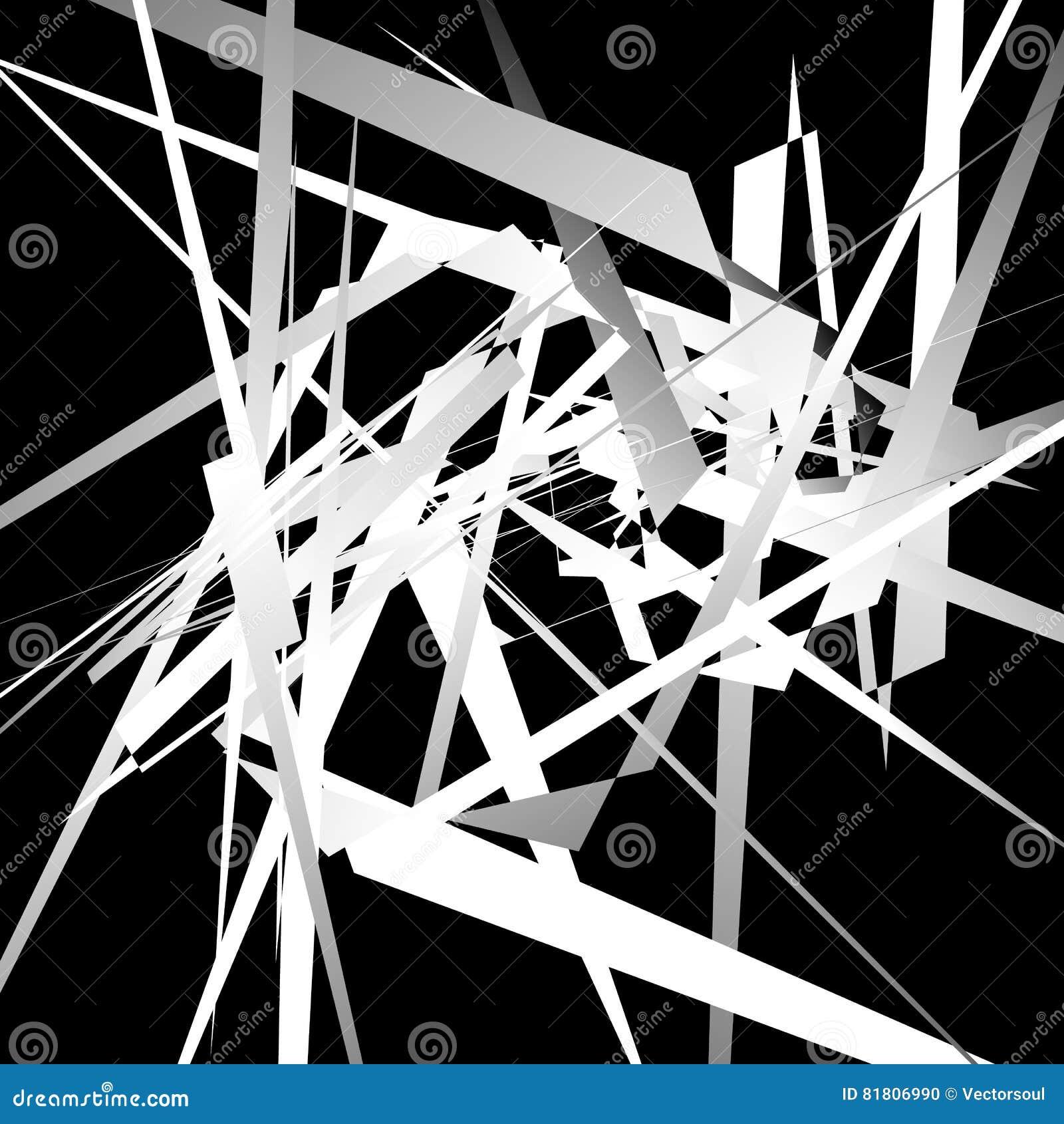 Случайные нервные, динамические линии Геометрическое monochrome искусство
