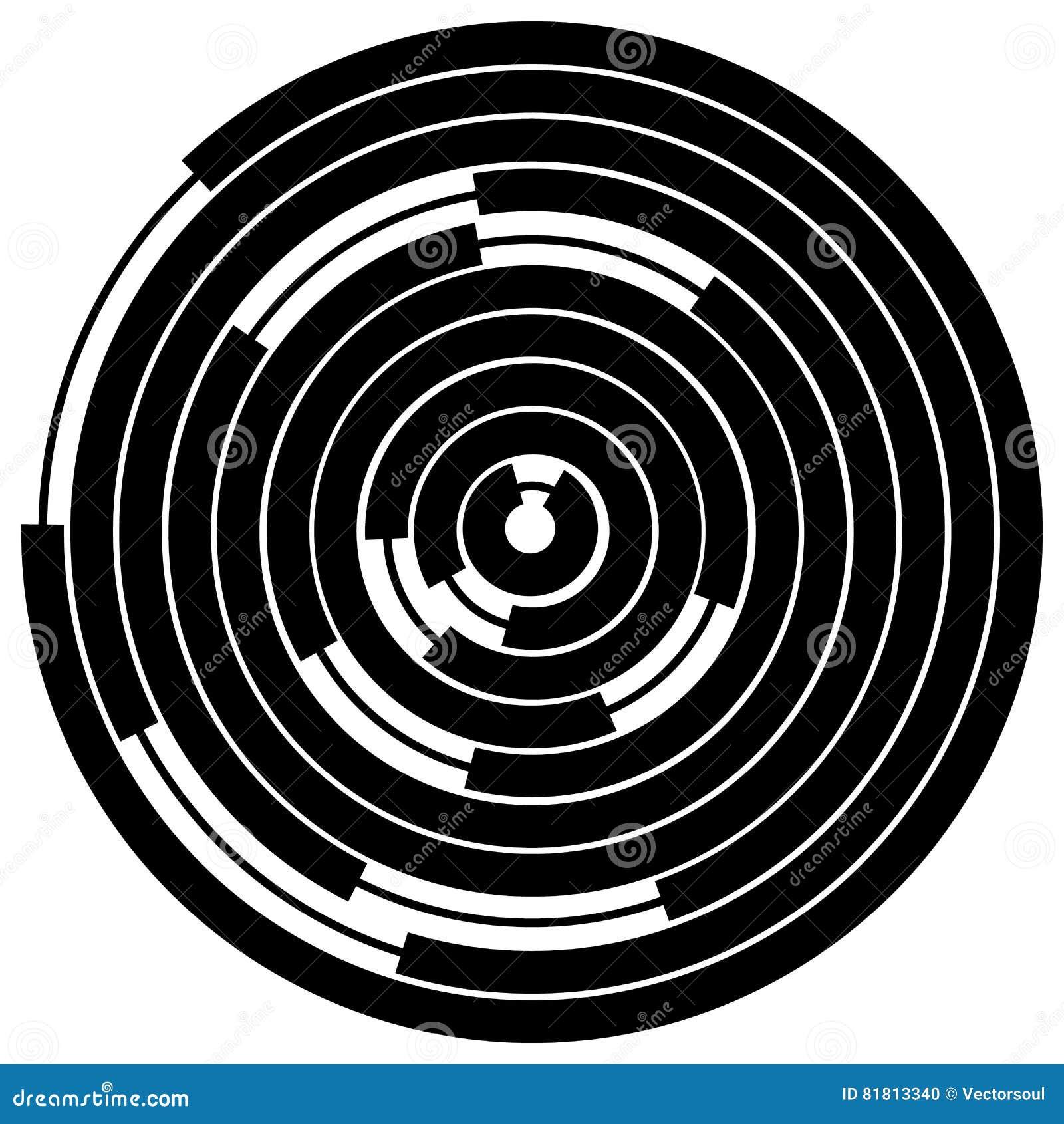Случайные поделенные на сегменты круги/кольца Radial, излучая круговое ele