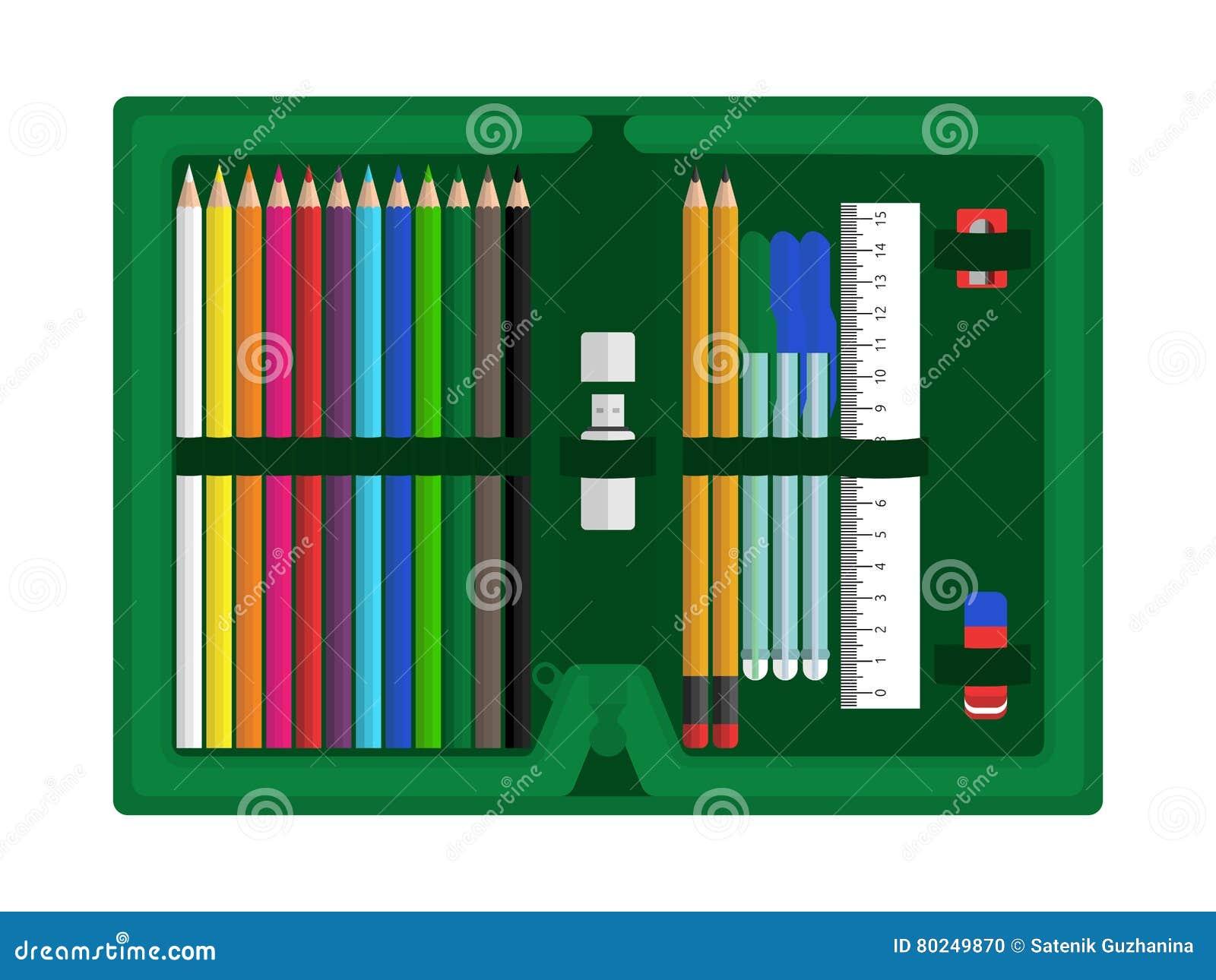 Случай карандаша с аксессуарами