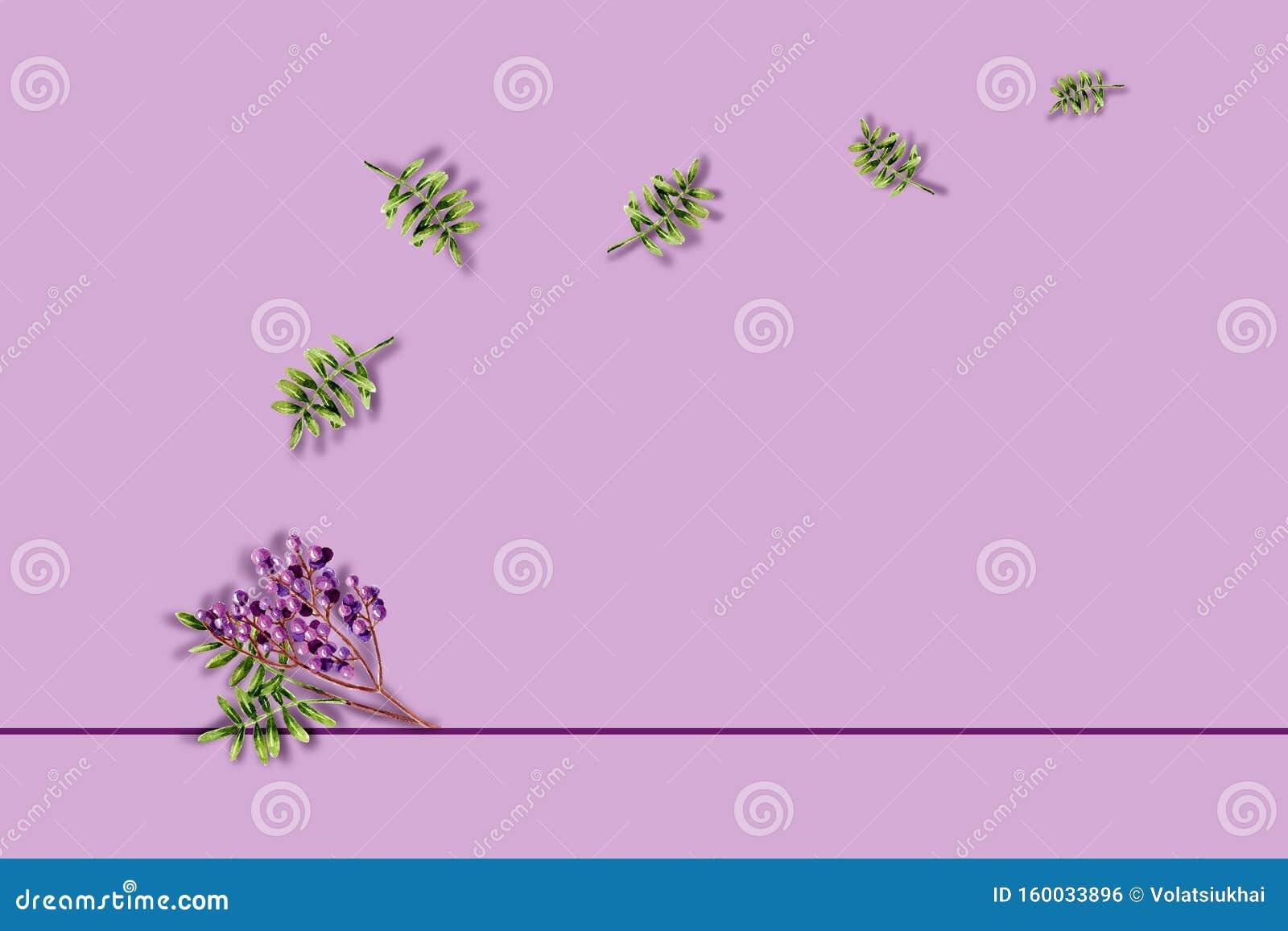 ? met waterkleurige groene groeve en paarse bessen Template met handbeschilderde planten