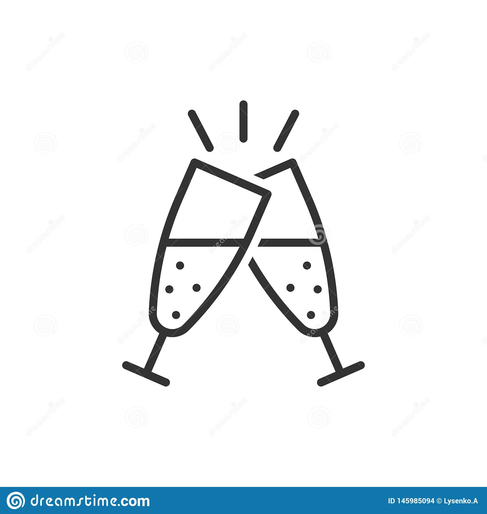 Сhampagne glass icon in flat style. Alcohol drink vector illustration on white isolated background. Cocktail business concept