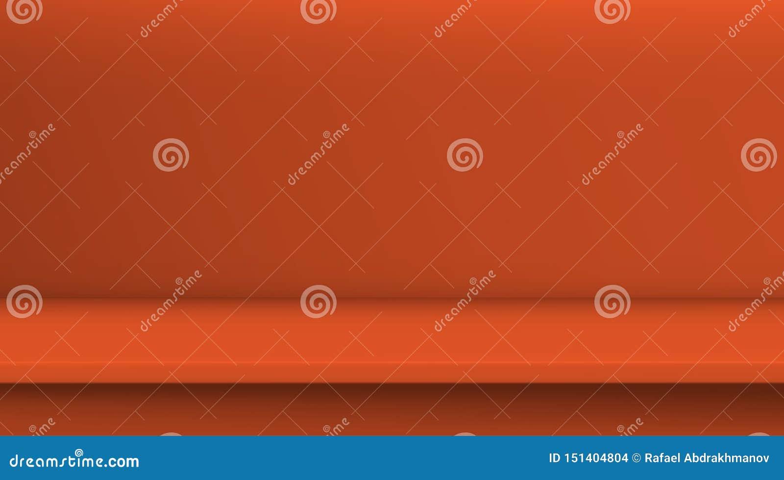 Таблица вектора сетки градиента Предпосылка пустой яркой оранжевой таблицы цвета, комнаты студии рекламирует для ваших продуктов